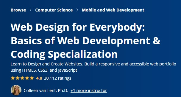 Web Design for Everybody : Web and Coding Specialization