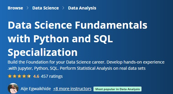 Data Science Fundamentals with Python and SQL Specialization