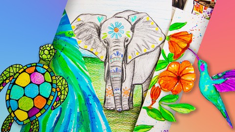 Art for Beginners & Kids: 8 Drawing & Mixed-Media Projects