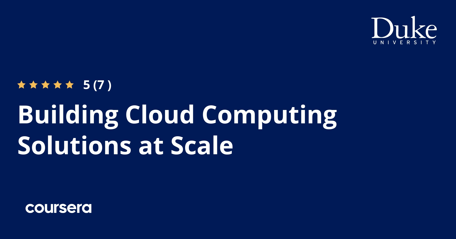 Building Cloud Computing Solutions at Scale Specialization