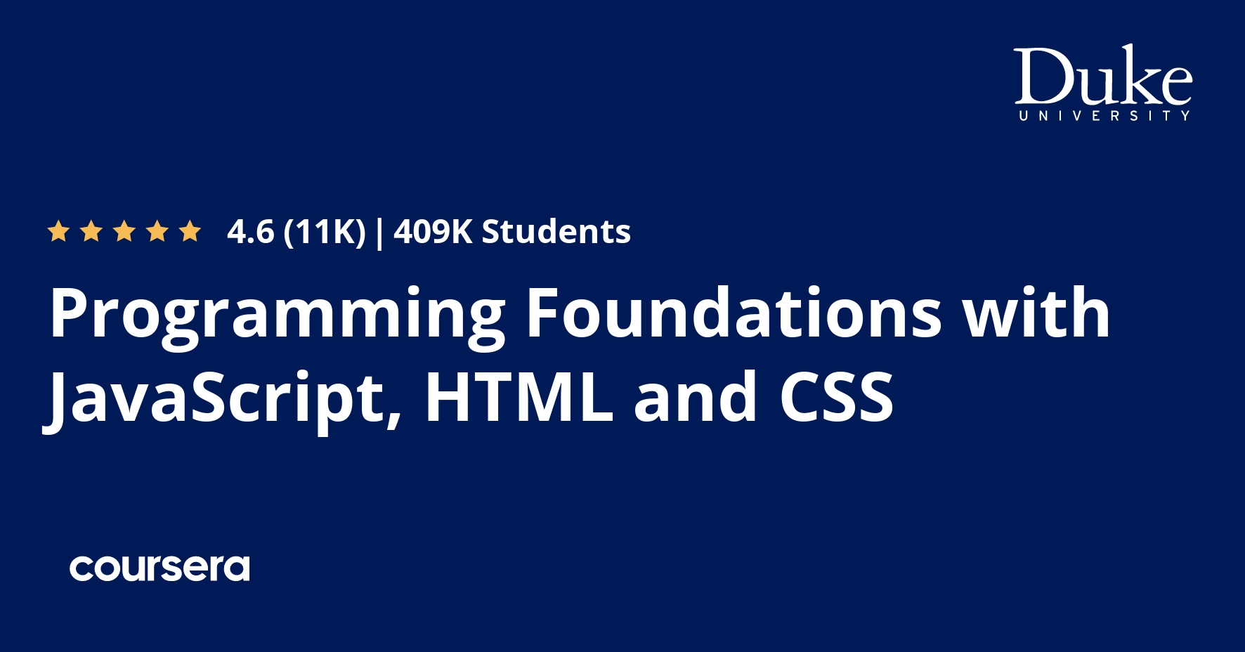 Programming Foundations with JavaScript, HTML and CSS